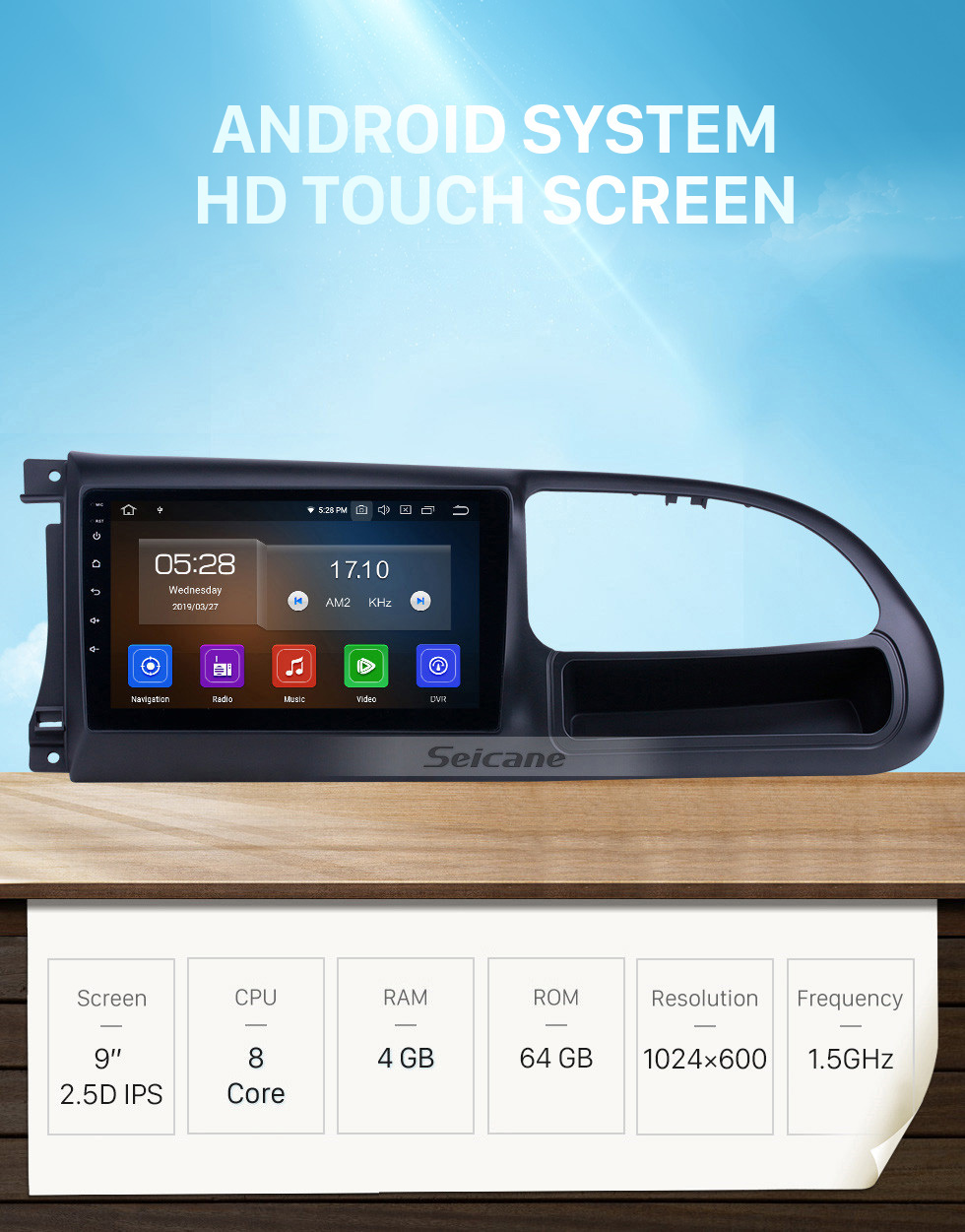 Seicane HD Touchscreen 2010-2016 Ford Transit Android 10.0 9 inch GPS Navigation Radio Bluetooth AUX Carplay support Rear camera DAB+ OBD2