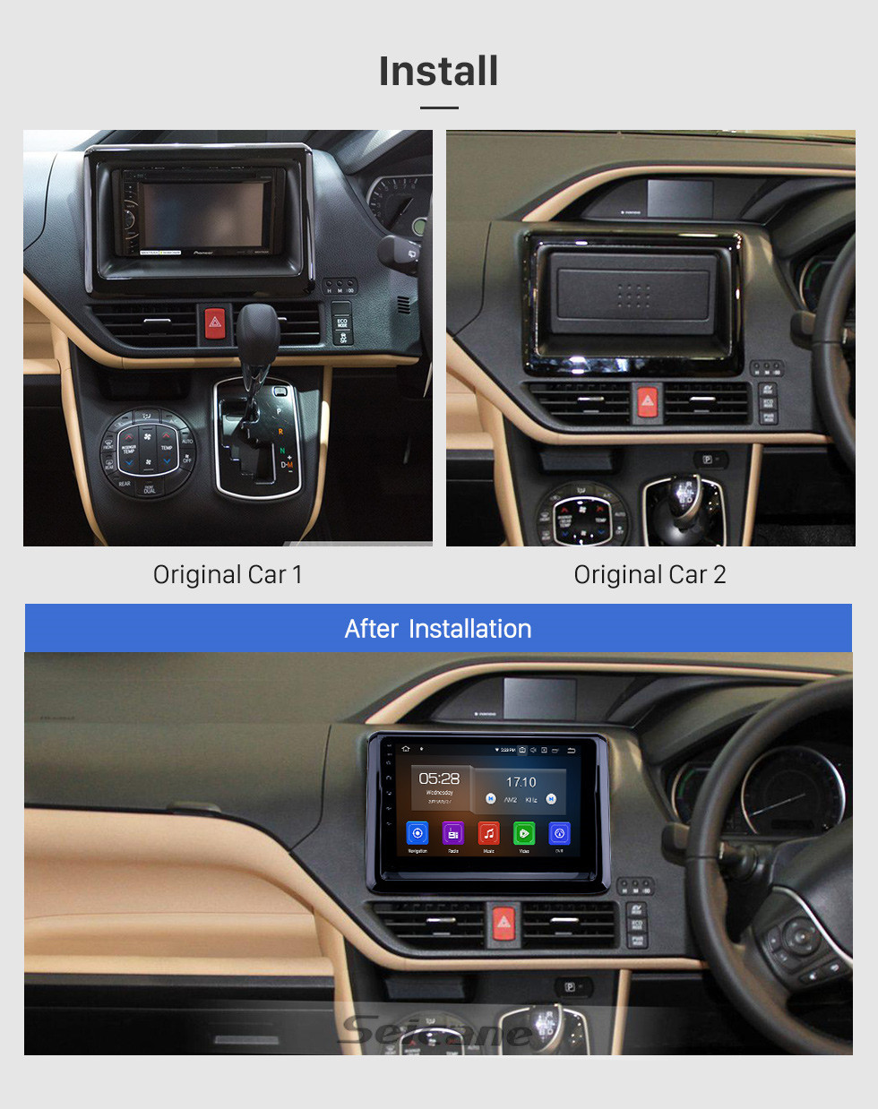 Seicane 2014 Toyota Noah Android 10.0 9 inch GPS Navigation Radio Bluetooth WIFI HD Touchscreen Carplay support OBD2 TPMS Backup camera