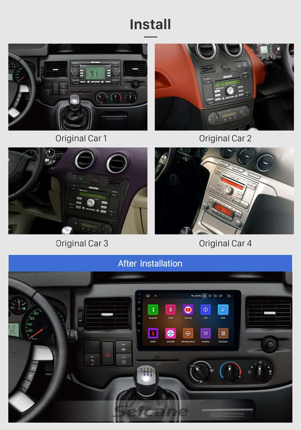 Seicane HD Touchscreen 2005-2008 Ford Focus Android 10.0 9 inch GPS Navigation Radio Bluetooth AUX Carplay support Rear camera DAB+ OBD2