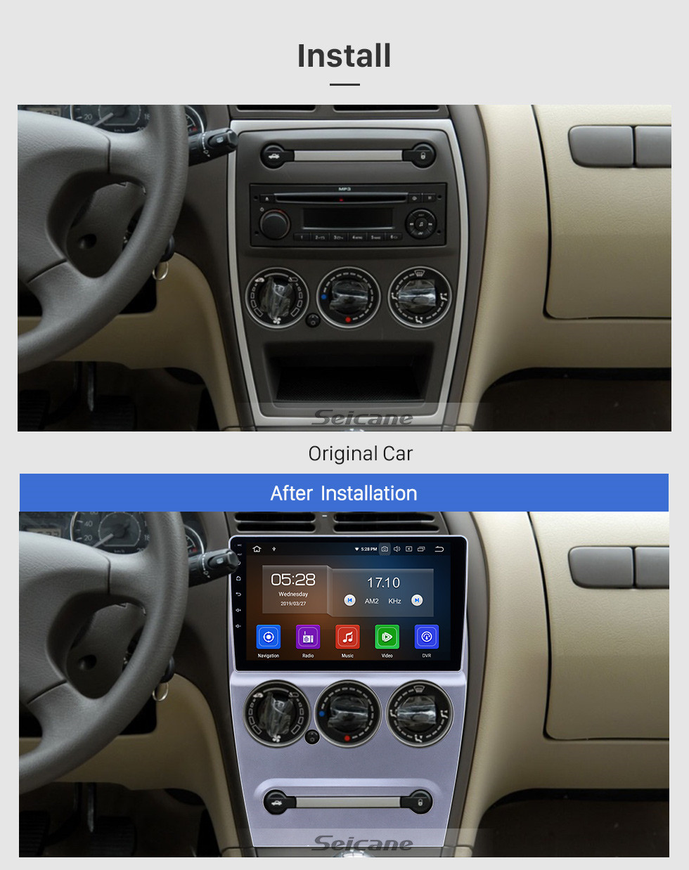 Seicane HD Touchscreen 2008-2013 Citroen Elysee Android 10.0 9 inch GPS Navigation Radio Bluetooth AUX USB Carplay support DAB+ Backup camera