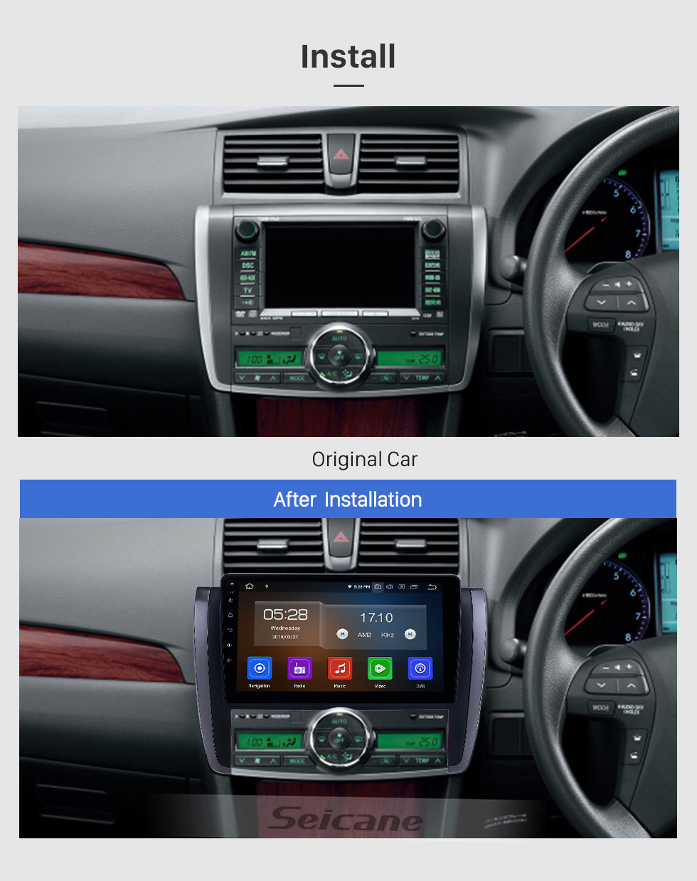 Seicane OEM 9 inch Android 10.0 Radio for 2007-2015 Toyota Allion Bluetooth HD Touchscreen GPS Navigation Carplay support TPMS