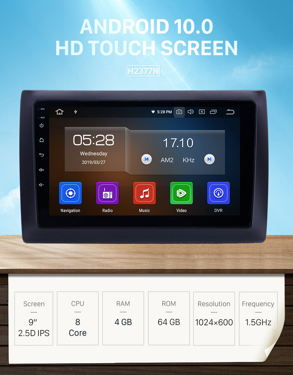 Seicane Android 10.0 9 inch GPS Navigation Radio for 2010 Fiat Stilo with HD Touchscreen Carplay Bluetooth Mirror Link support TPMS Digital TV
