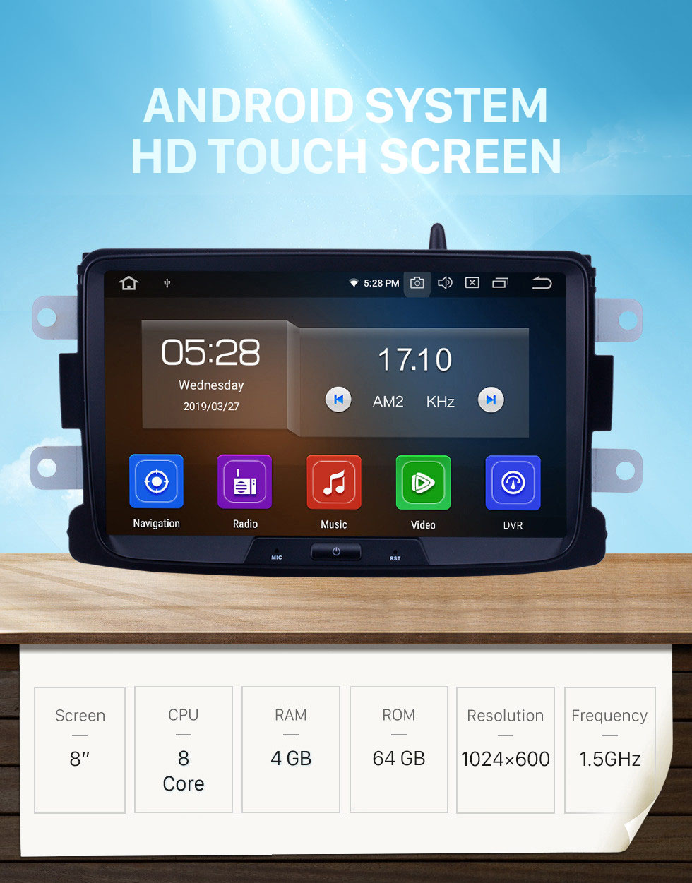Seicane Android 10.0 OEM In-Dash Radio Reemplazo Reproductor MP5 para Renault Duster GPS incorporado DVD POP Bluetooth Soporte HD TV DVR Cámara de respaldo