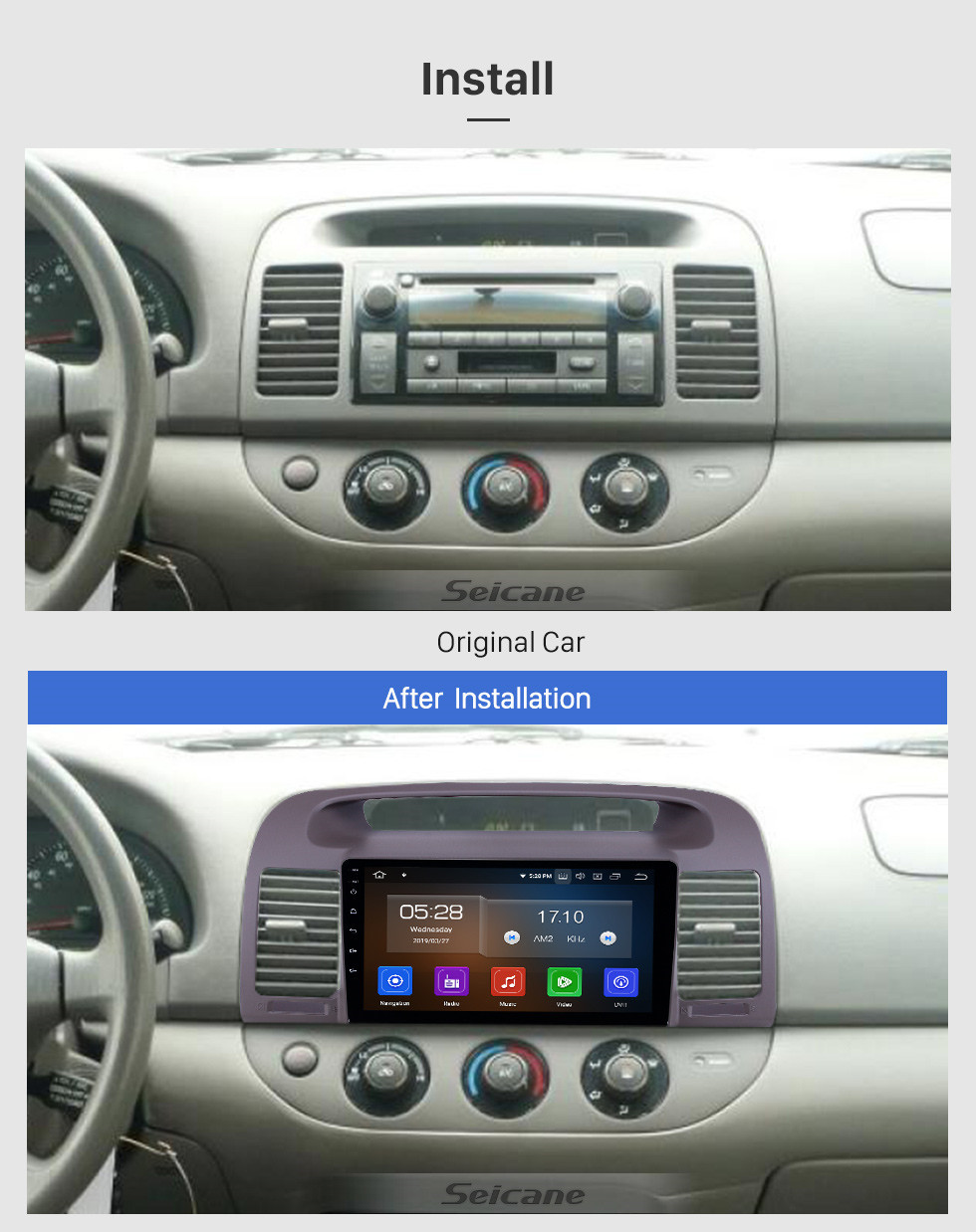 Seicane Android 10.0 9 inch GPS Navigation Radio for 2000-2003 Toyota Camry with HD Touchscreen Carplay Bluetooth support Digital TV