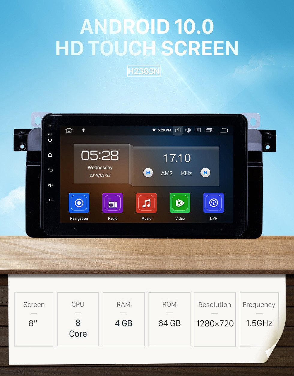 Seicane HD Touchscreen Android 10.0 8 inch GPS Navigation Radio for 1998-2006 BMW 3 Series E46 M3 with WIFI Bluetooth USB Carplay Support 1080P Video DVR TPMS