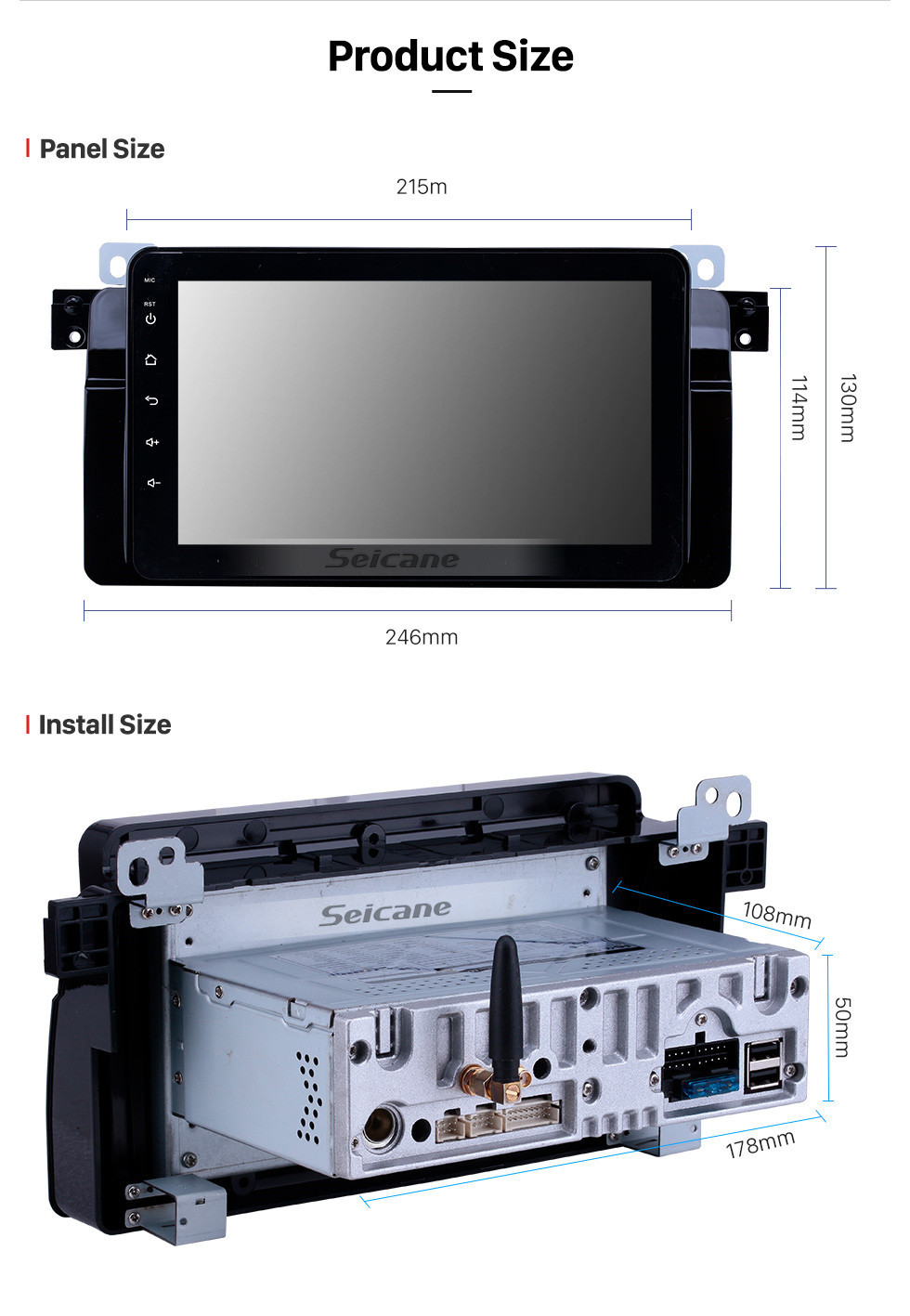 Seicane 8 inch 1998-2006 BMW 3 Series E46 M3/2001-2004 MG ZT/1999-2004 Rover 75 Android 10.0 GPS Navigation Radio Bluetooth HD Touchscreen Carplay support Mirror Link