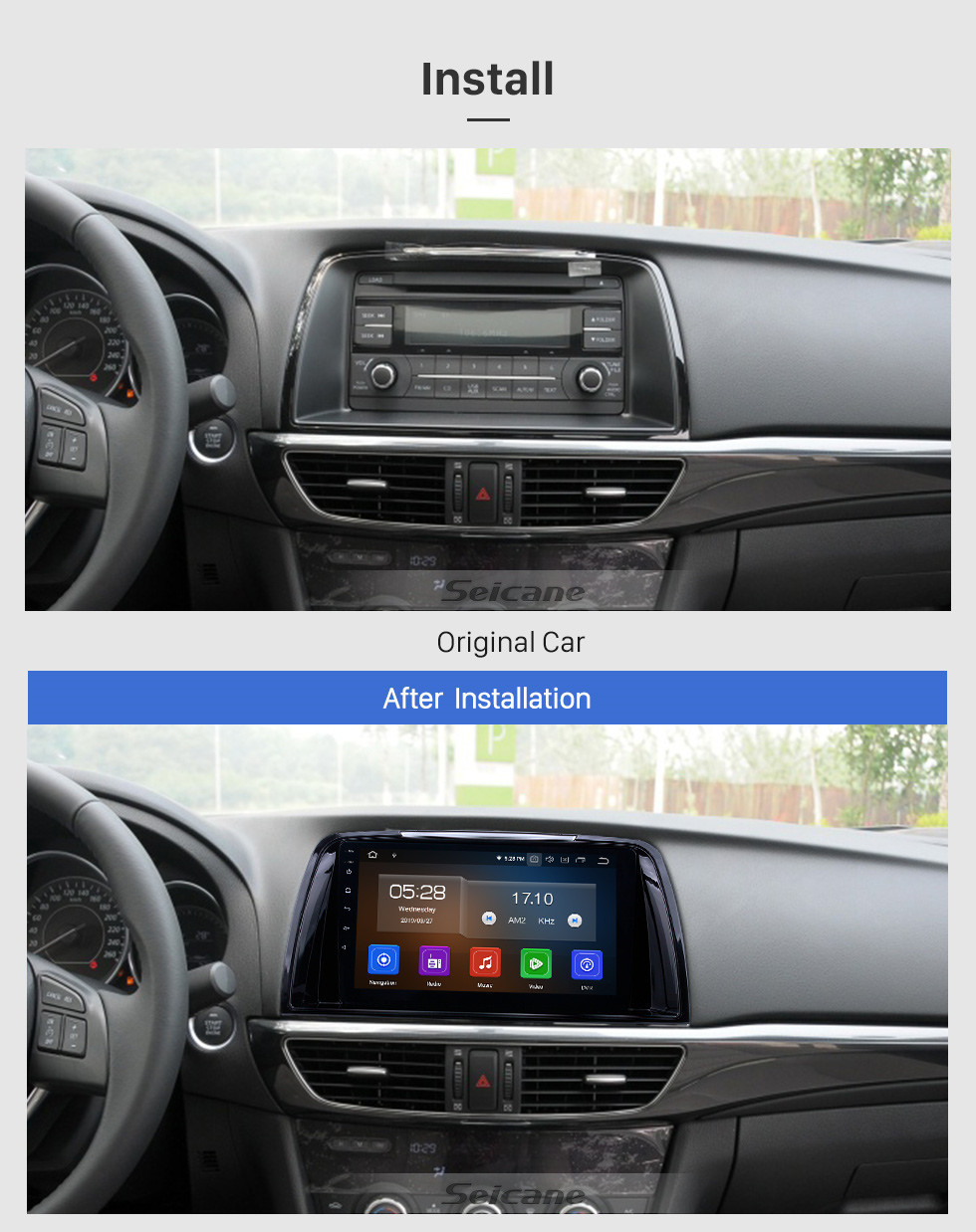 Seicane 9 inch Android 10.0 GPS Navigation Radio for 2014-2016 Mazda Atenza with HD Touchscreen Carplay AUX Bluetooth support 1080P