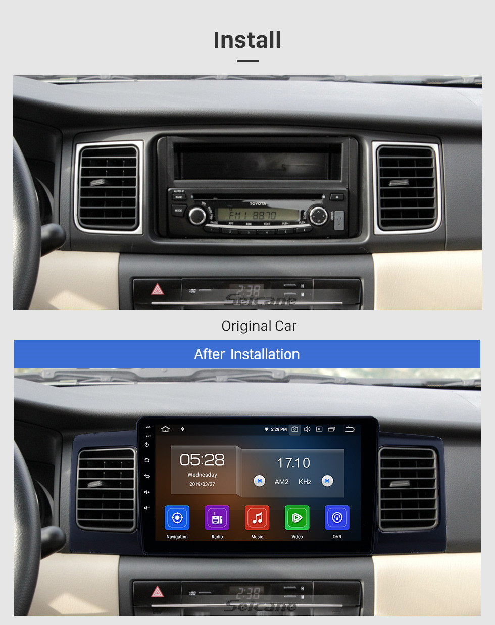 Seicane 2013 Toyota Corolla/BYD F3 Android 10.0 9 inch GPS Navigation Radio Bluetooth HD Touchscreen WIFI USB Carplay support Backup camera
