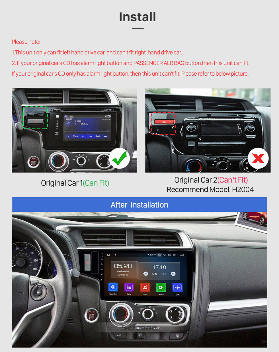 Seicane 10,1 pouces 2013-2015 Honda Fit LHD Android 10.0 Navigation GPS Radio Bluetooth WIFI écran tactile soutien Carplay DVR