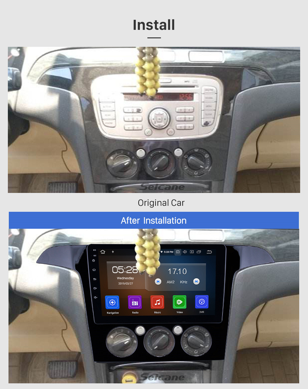 Seicane HD Touchscreen 2007-2008 Ford S-Max Manual A/C Android 10.0 9 inch GPS Navigation Radio Bluetooth WIFI Carplay support OBD2