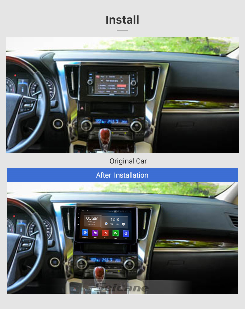Seicane 10.1 inch Android 10.0 Radio for 2015 2016 Toyota Alphard Bluetooth Wifi HD Touchscreen GPS Navigation Carplay USB support DVR OBD2 Rearview camera