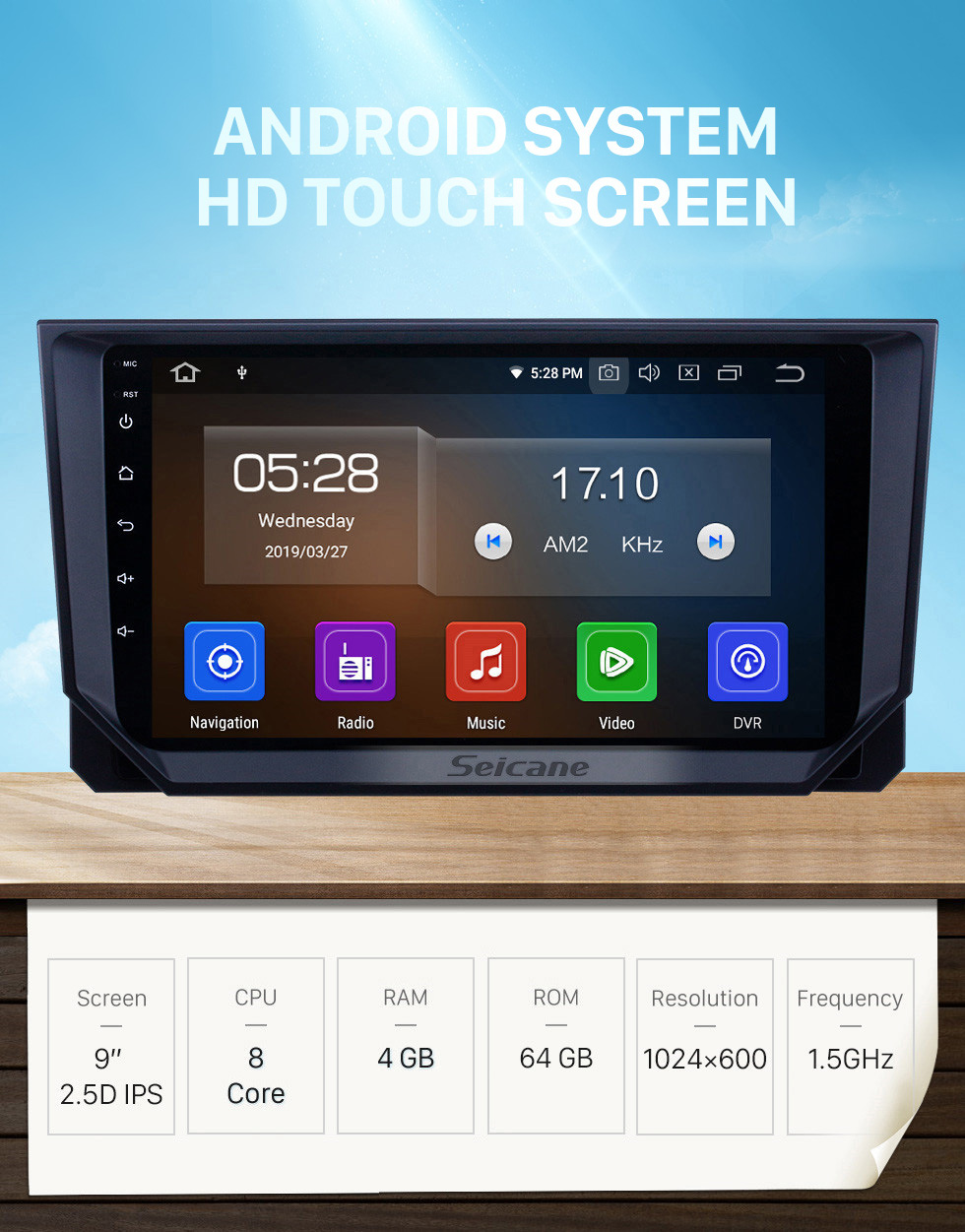 Seicane HD Touchscreen 2018 Seat Ibiza Android 10.0 9 inch GPS Navigation Radio Bluetooth USB WIFI Carplay support DAB+ TPMS OBD2