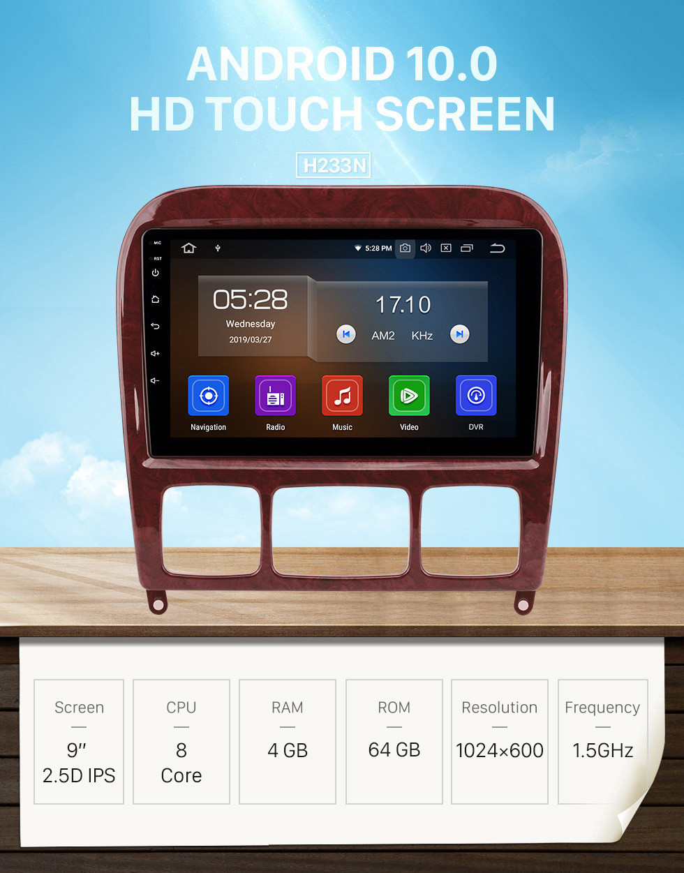 Seicane 9 inch  Android 10.0 HD Touchscreen Radio for 1998-2005 Mercedes-Benz S-Class W220 S280 S320 S350 S400 S430 S500GPS Navigation system with USB WIFI Bluetooth Mirror Link 1080P OBD2 Steering Wheel Control