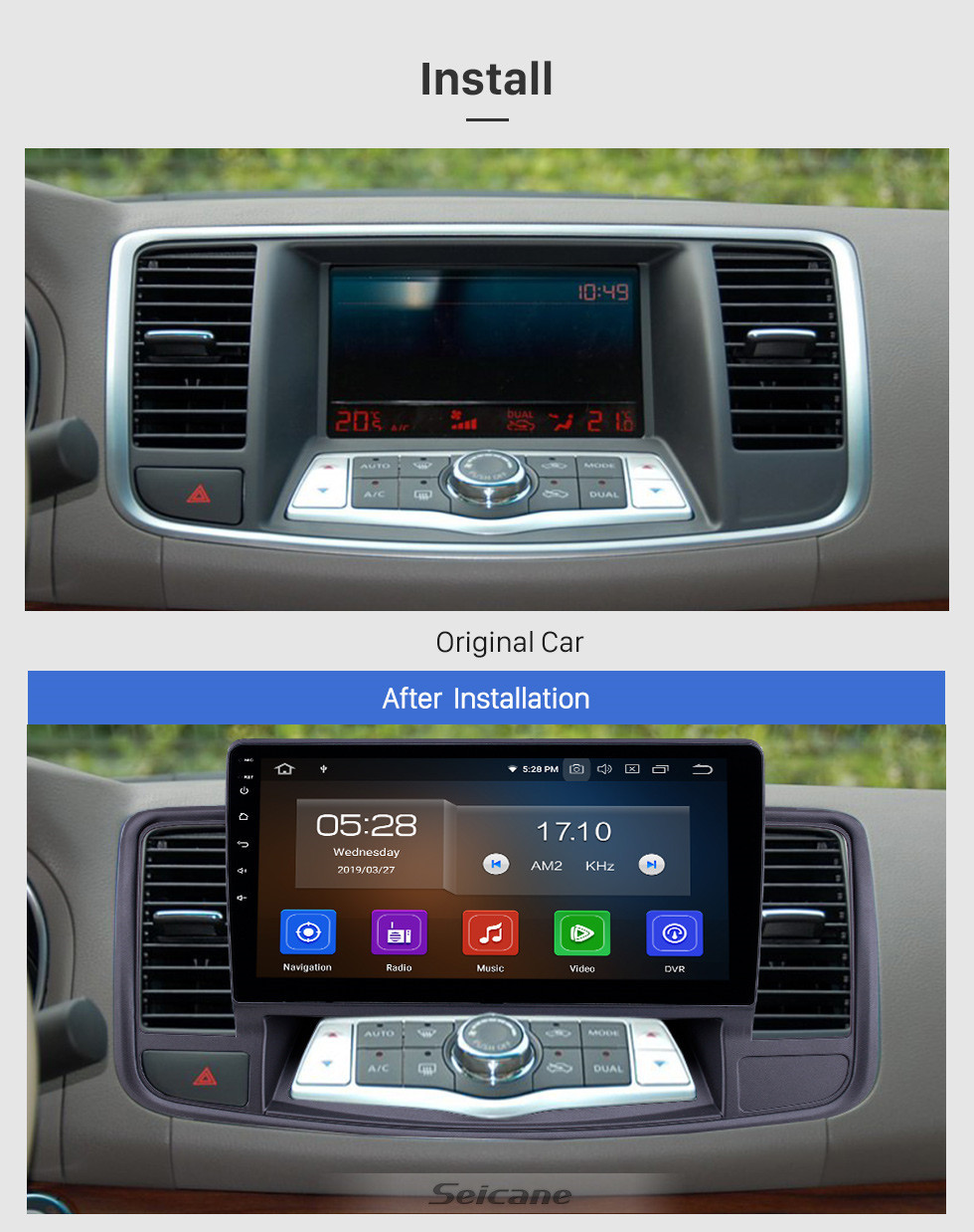 Seicane 10.1 inch Android 10.0 Radio for 2009-2013 Nissan Old Teana Bluetooth HD Touchscreen GPS Navigation Carplay USB support TPMS DAB+
