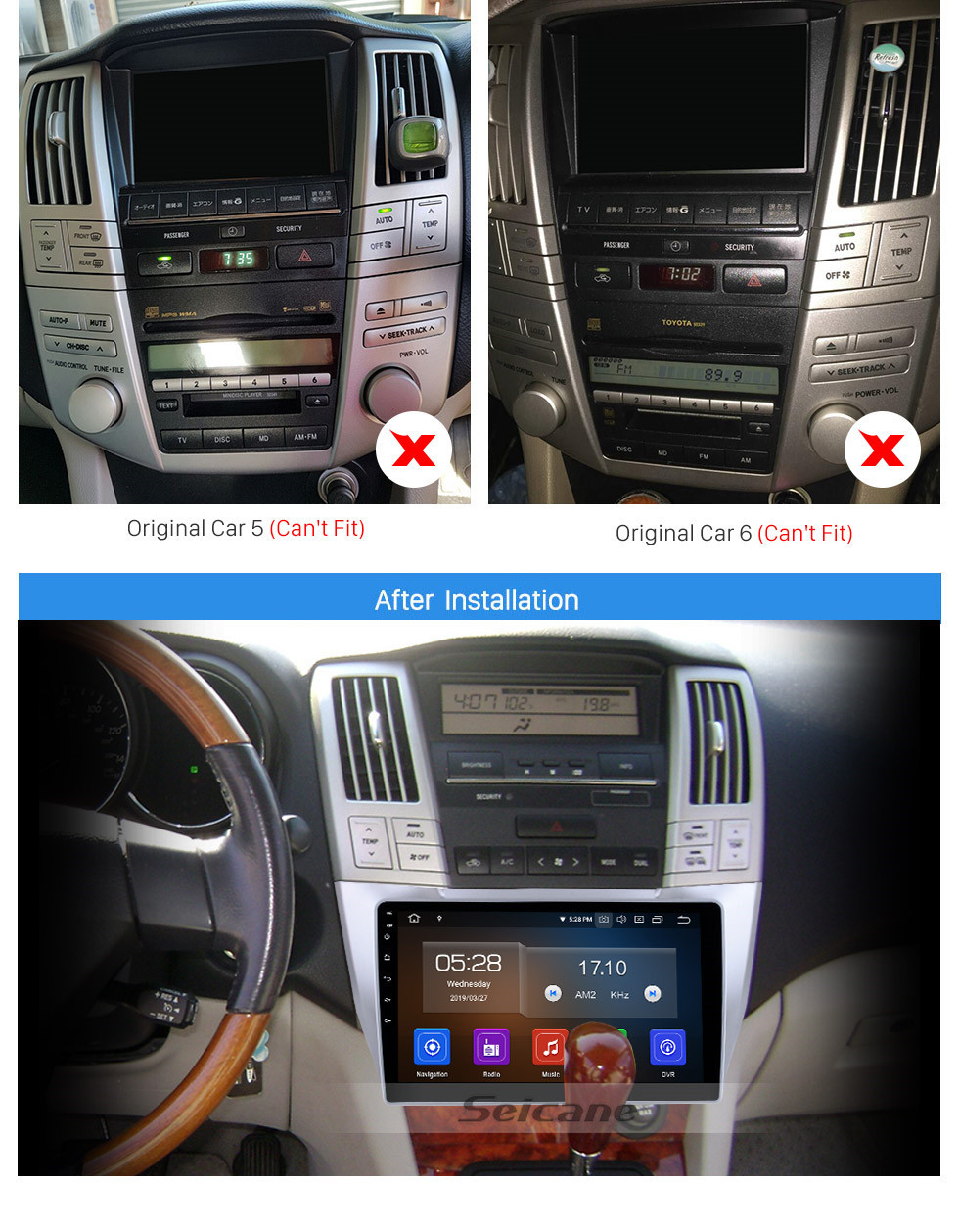 Seicane OEM 10.1 inch Android 10.0 Radio for 2003-2010 Lexus RX300 RX330 RX350 Bluetooth HD Touchscreen GPS Navigation AUX Carplay support TPMS