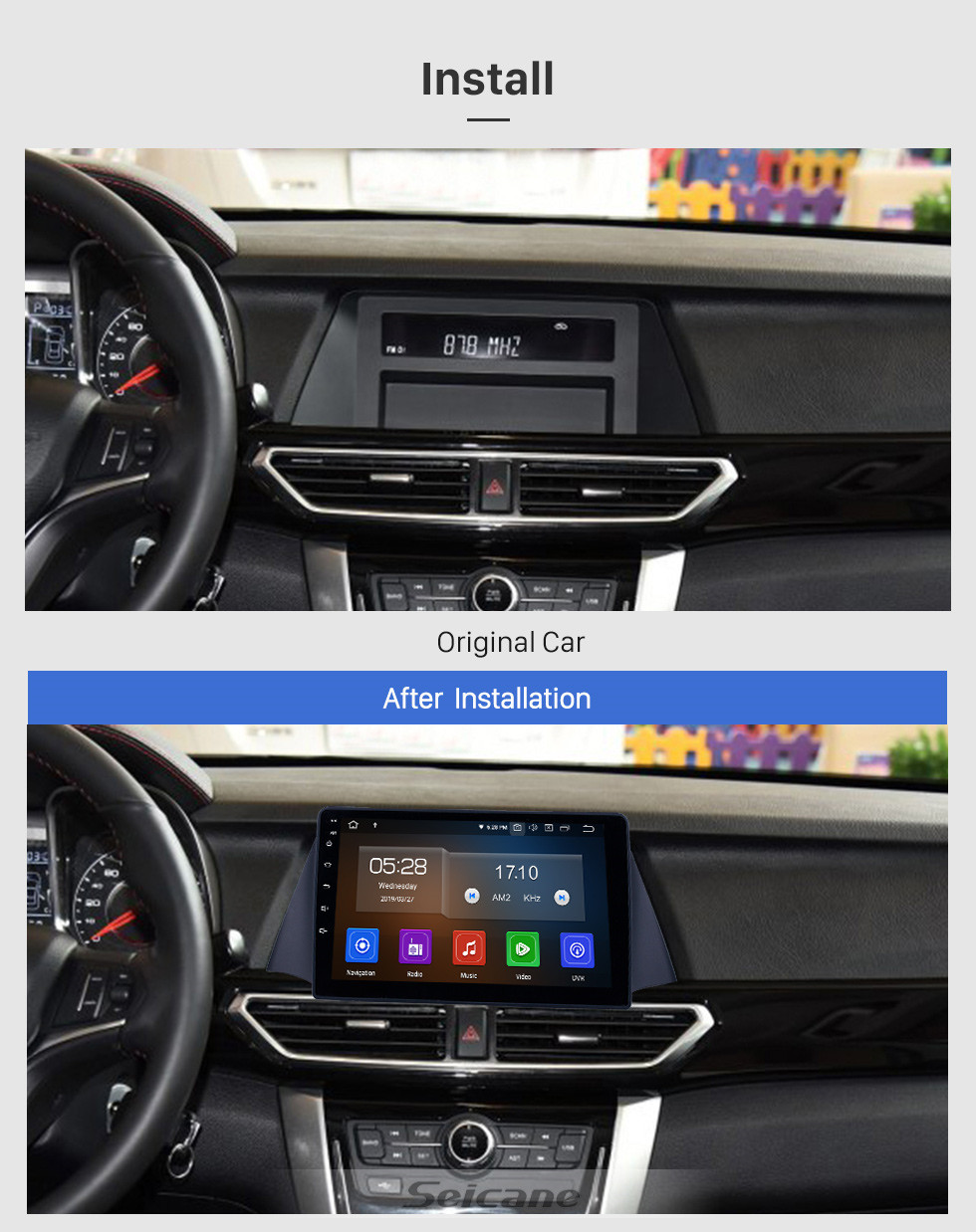 Seicane Android 10.0 9 inch GPS Navigation Radio for 2015 Zotye Domy x5 with HD Touchscreen Carplay USB Bluetooth support DVR DAB+