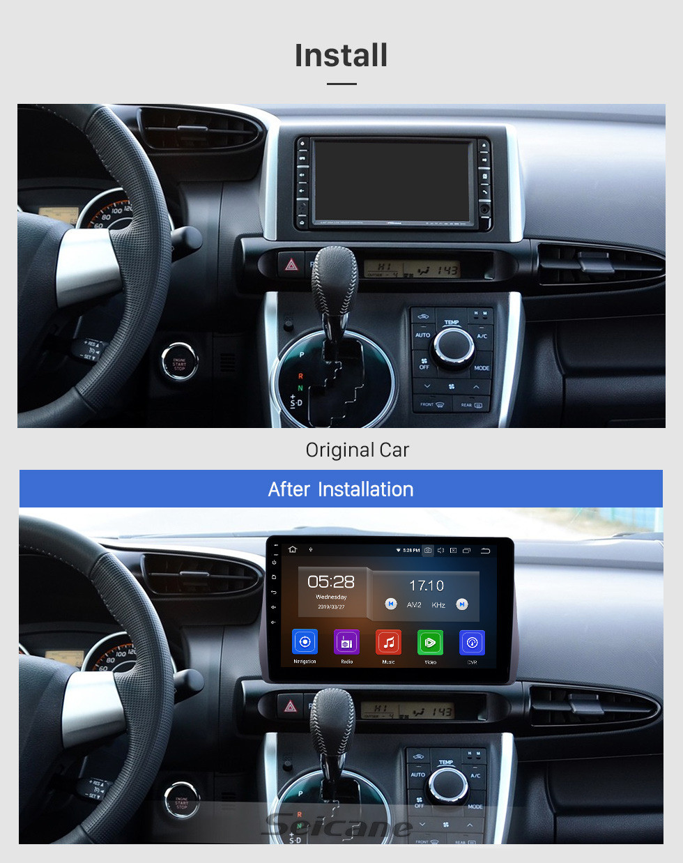 Seicane 10.1 inch Android 10.0 Radio for 2009-2012 Toyota Wish Bluetooth HD Touchscreen GPS Navigation Carplay USB support TPMS DAB+