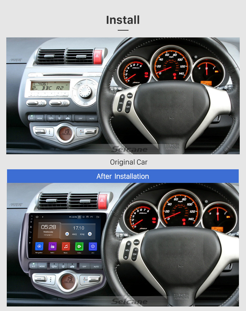 Seicane Android 10.0 9 inch GPS Navigation Radio for 2006 Honda Jazz City Auto AC RHD with HD Touchscreen Carplay AUX Bluetooth support DVR TPMS