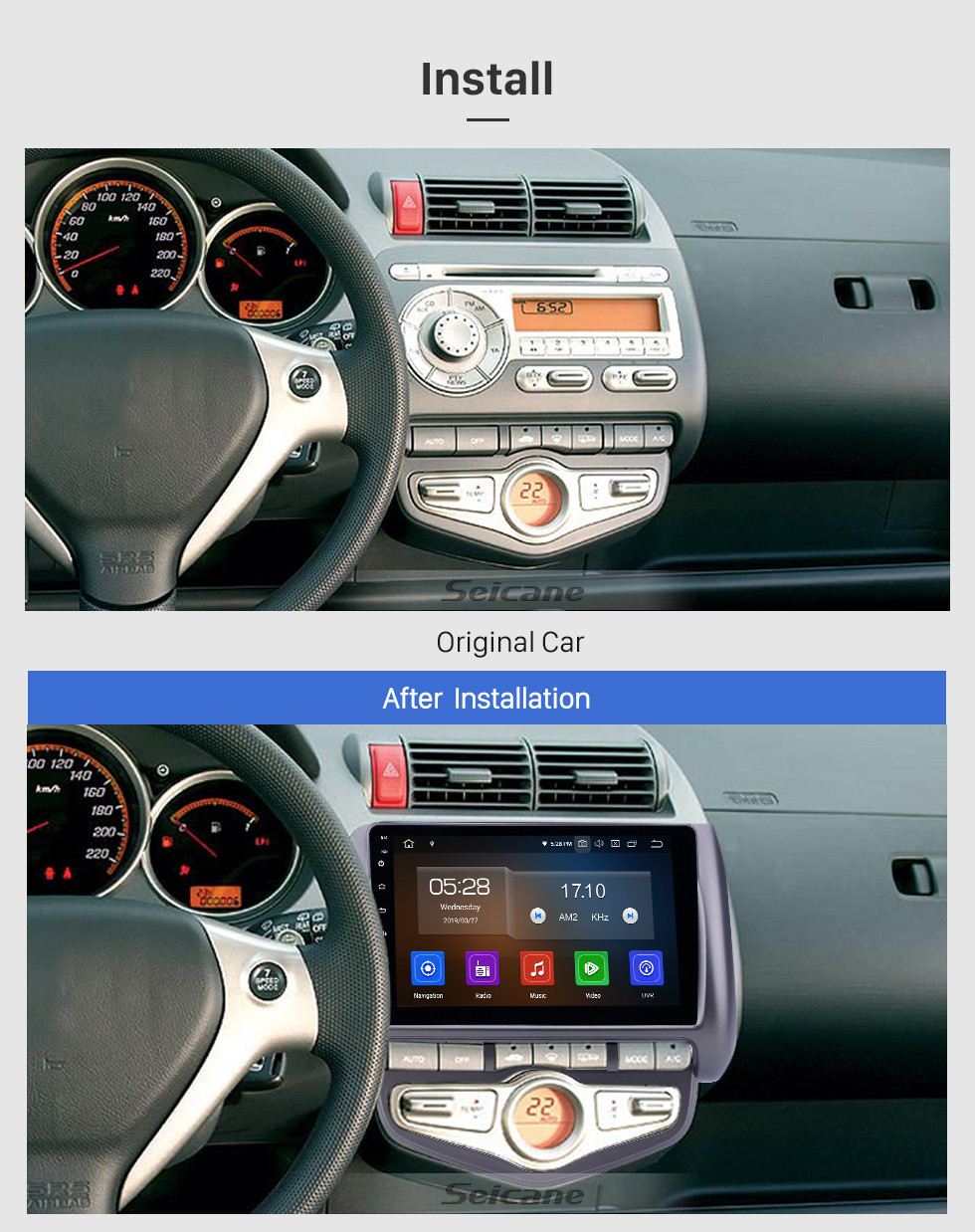 Seicane 9 inch Android 10.0 GPS Navigation Radio for 2006 Honda Jazz City Auto AC LHD with HD Touchscreen Carplay AUX Bluetooth support 1080P