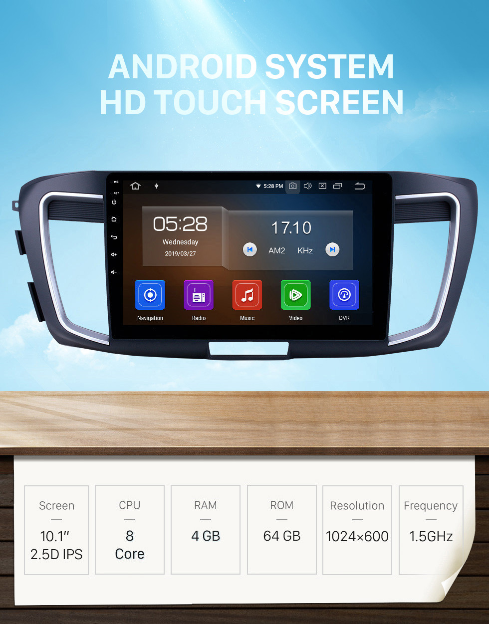 Seicane 10.1 inch Android 10.0 Radio for 2013 Honda Accord 9 Low Version Bluetooth Touchscreen GPS Navigation Carplay USB AUX support TPMS DAB+ SWC