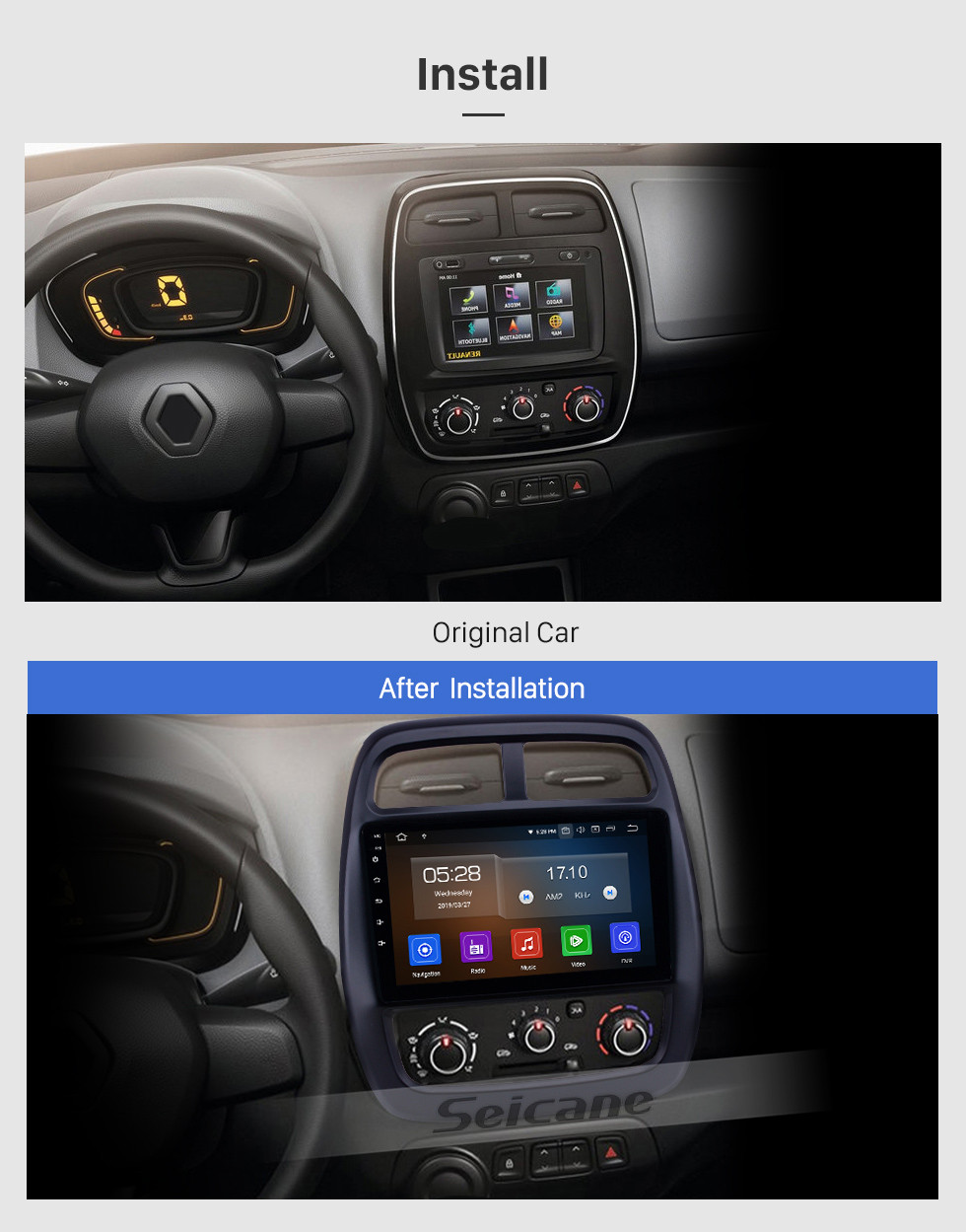 Seicane OEM 9 inch Android 10.0 Radio for 2012-2017 Renault Kwid Bluetooth HD Touchscreen GPS Navigation Carplay support Rearview camera