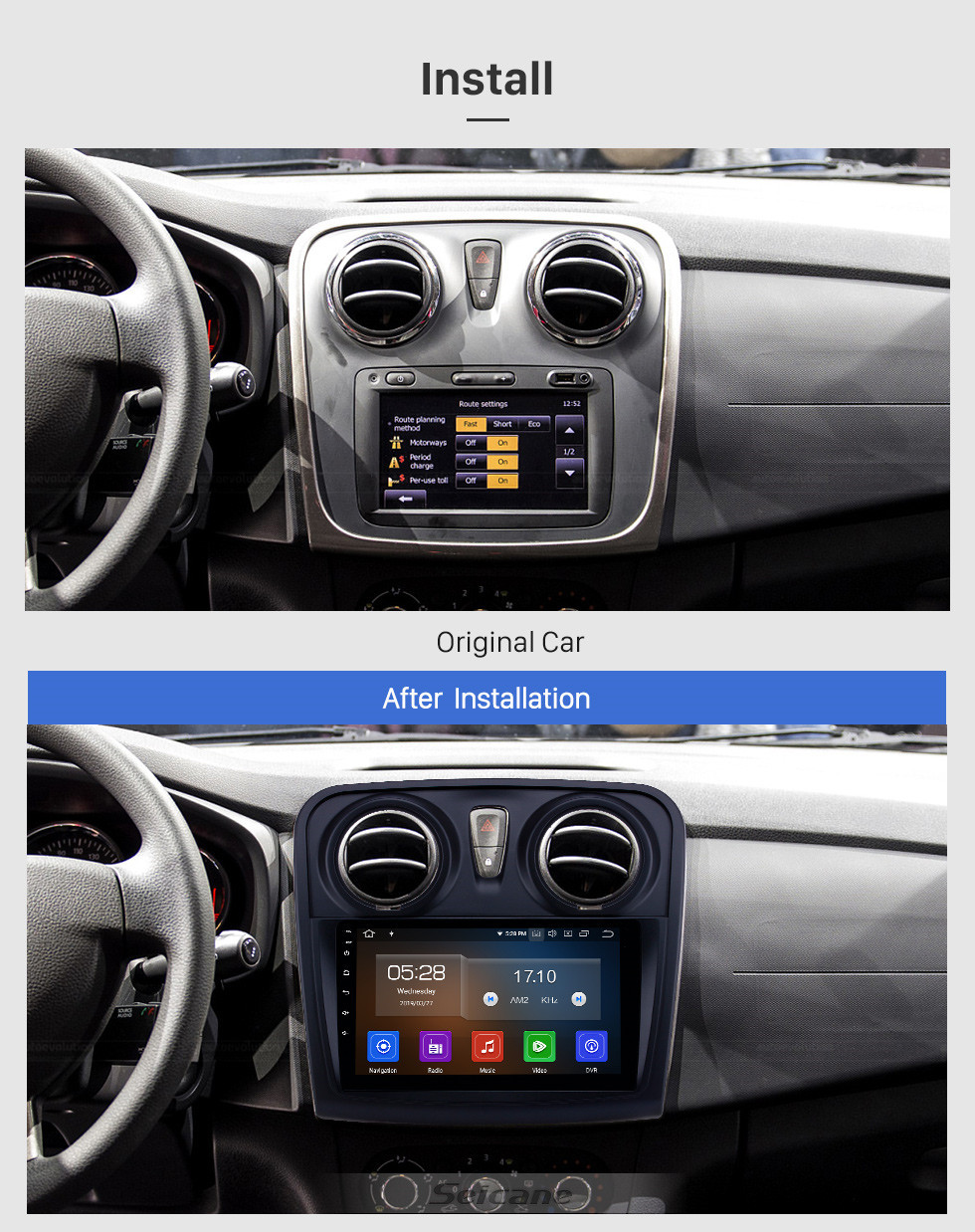 Seicane OEM 9 inch Android 10.0 Radio for 2012-2017 Renault Dacia Sandero Bluetooth HD Touchscreen GPS Navigation Carplay support Rear camera