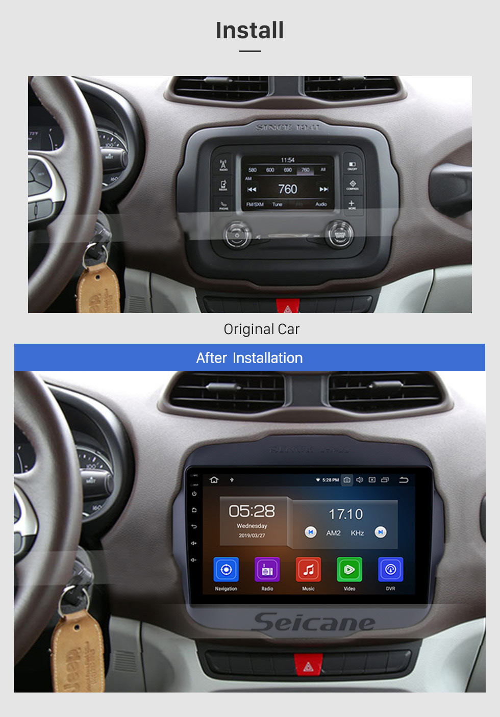 Seicane 9 inch 2016 Jeep RENEGADE HD Touch Screen Android 10.0 Radio GPS Navigation System Support 3G WIFI Bluetooth Steering Wheel Control DVR AUX OBD2 Rear Camera