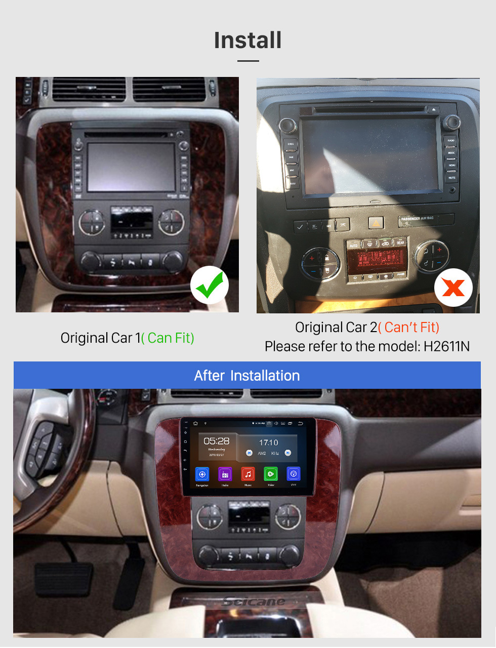 Seicane 2007-2012 GMC Yukon / Acadia / Tahoe Chevy Chevrolet Tahoe / Suburban Buick Enclave Android 10.0 Radio de navigation GPS 9 pouces Écran tactile Bluetooth HD Support Carplay TPMS