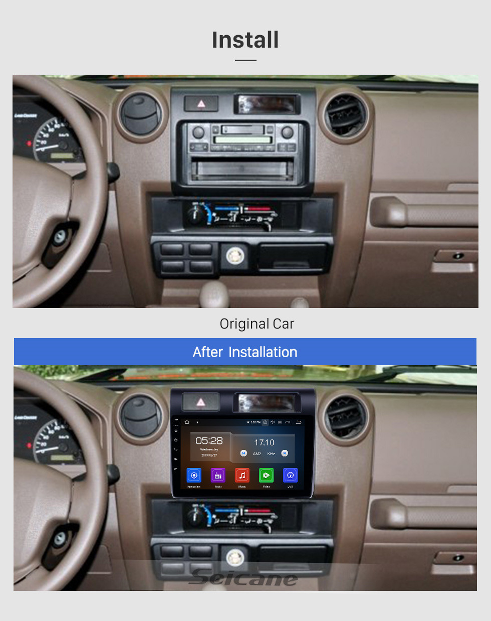Seicane HD Touchscreen 2015 Toyota Land Cruiser Android 10.0 9 inch GPS Navigation Radio Bluetooth USB Carplay WIFI AUX support Steering Wheel Control