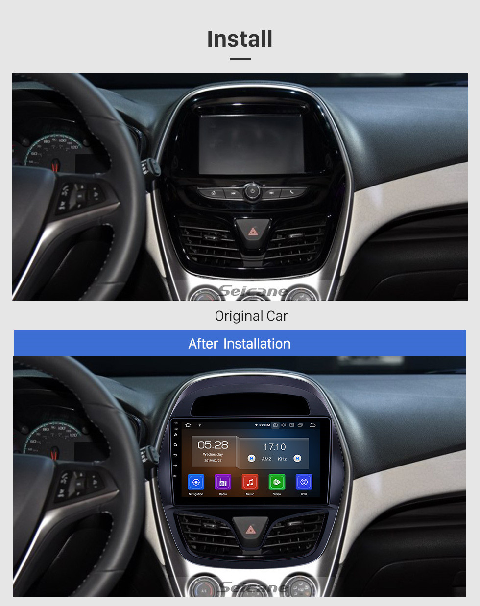Seicane OEM 9 inch Android 10.0 Radio for 2015-2018 chevy Chevrolet Spark Beat Daewoo Martiz Bluetooth HD Touchscreen GPS Navigation Carplay support Rear camera