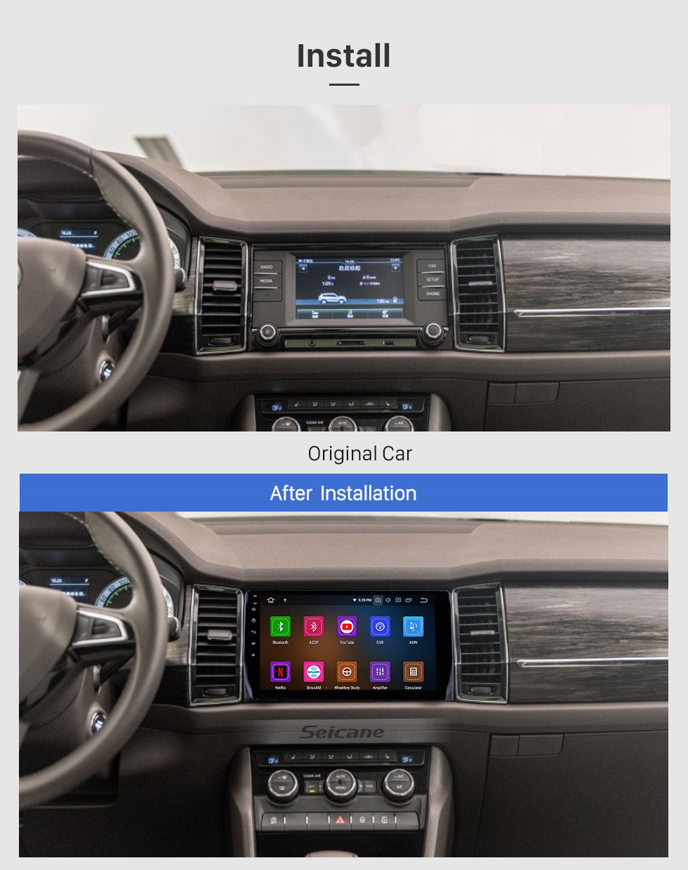 Seicane 10.1 polegada 2017-2018 Skoda Diack Android 10.0 Navegação GPS Rádio HD Bluetooth Touchscreen WIFI AUX Carplay suporte 1080 P Vídeo
