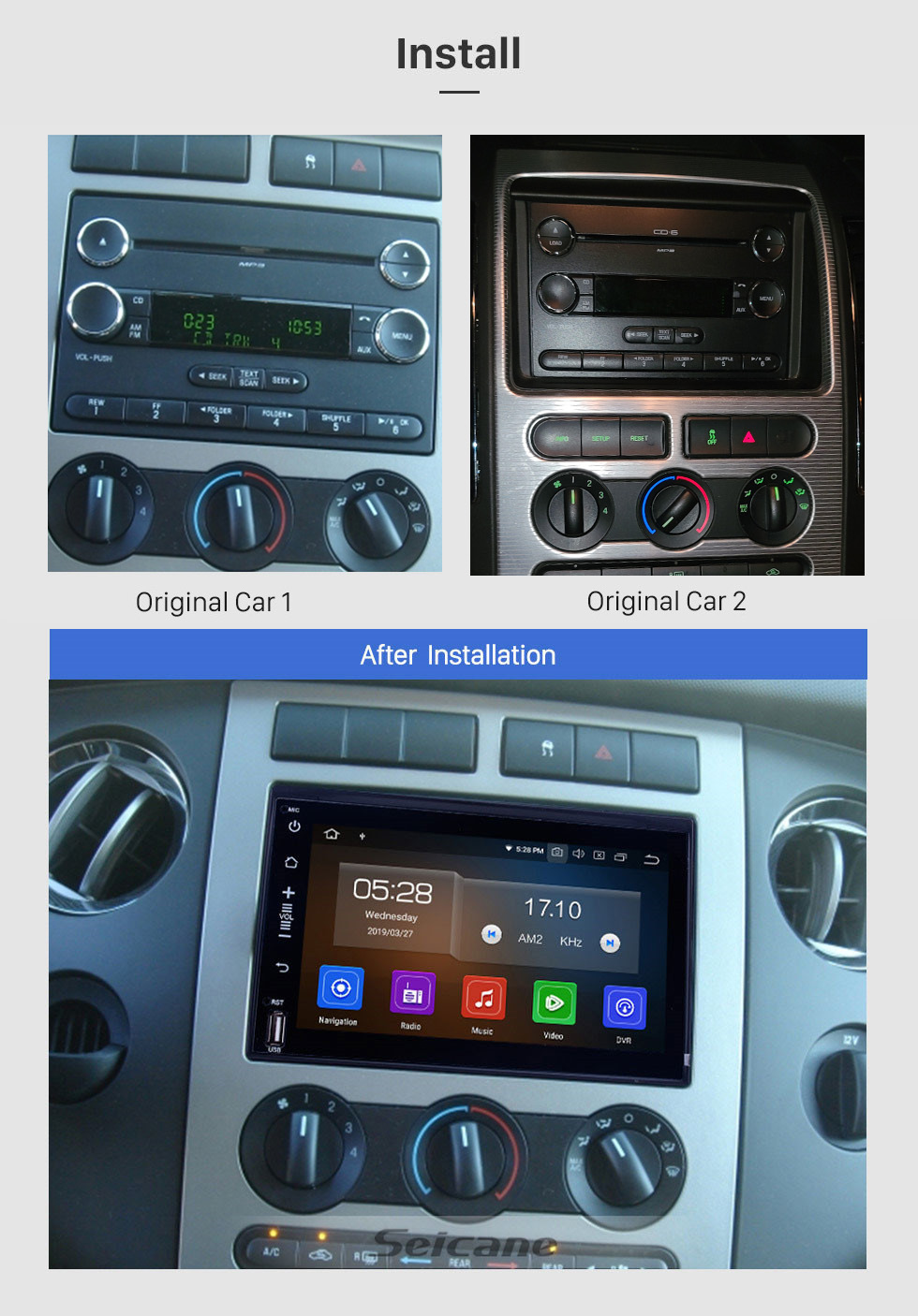 Seicane Android 10.0 DVD GPS In Dash Radio System for 2005-2009 Ford Mustang with 3G WiFi Bluetooth Mirror Link OBD2 Rearview Camera
