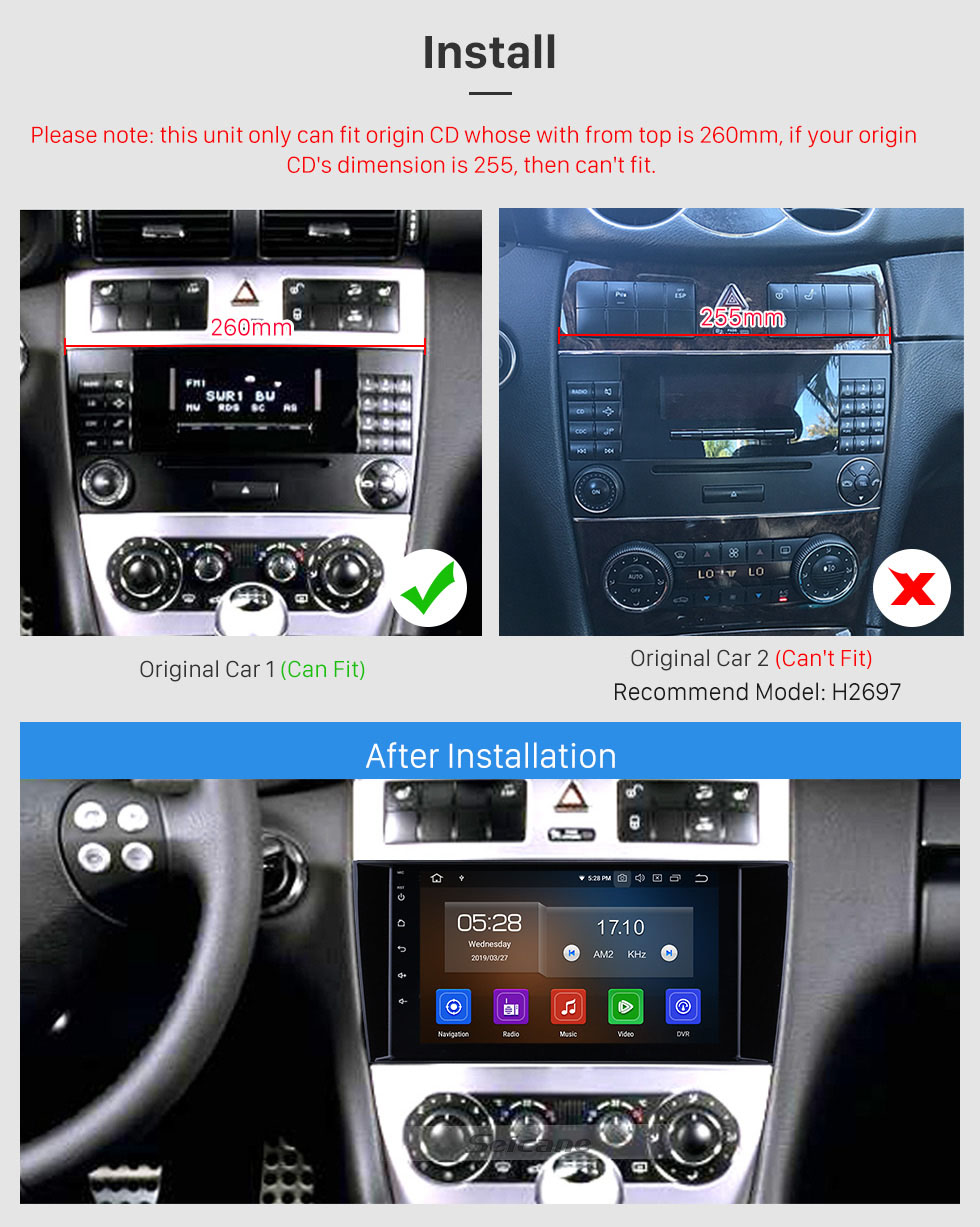 Seicane 8 inch Android 10.0 GPS Navigation Radio for 2004-2011 Mercedes Benz C Class C55 / CLC Class W203 /CLK Class W209 /CLS Class W219 with HD Touchscreen Carplay Bluetooth support OBD2 SWC