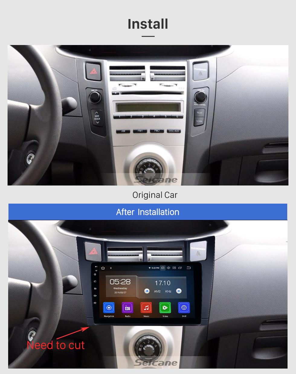 Seicane Android 10.0 9 inch GPS Navigation Radio for 2008-2011 Toyota Yaris with HD Touchscreen Carplay Bluetooth WIFI AUX support Mirror Link OBD2 SWC