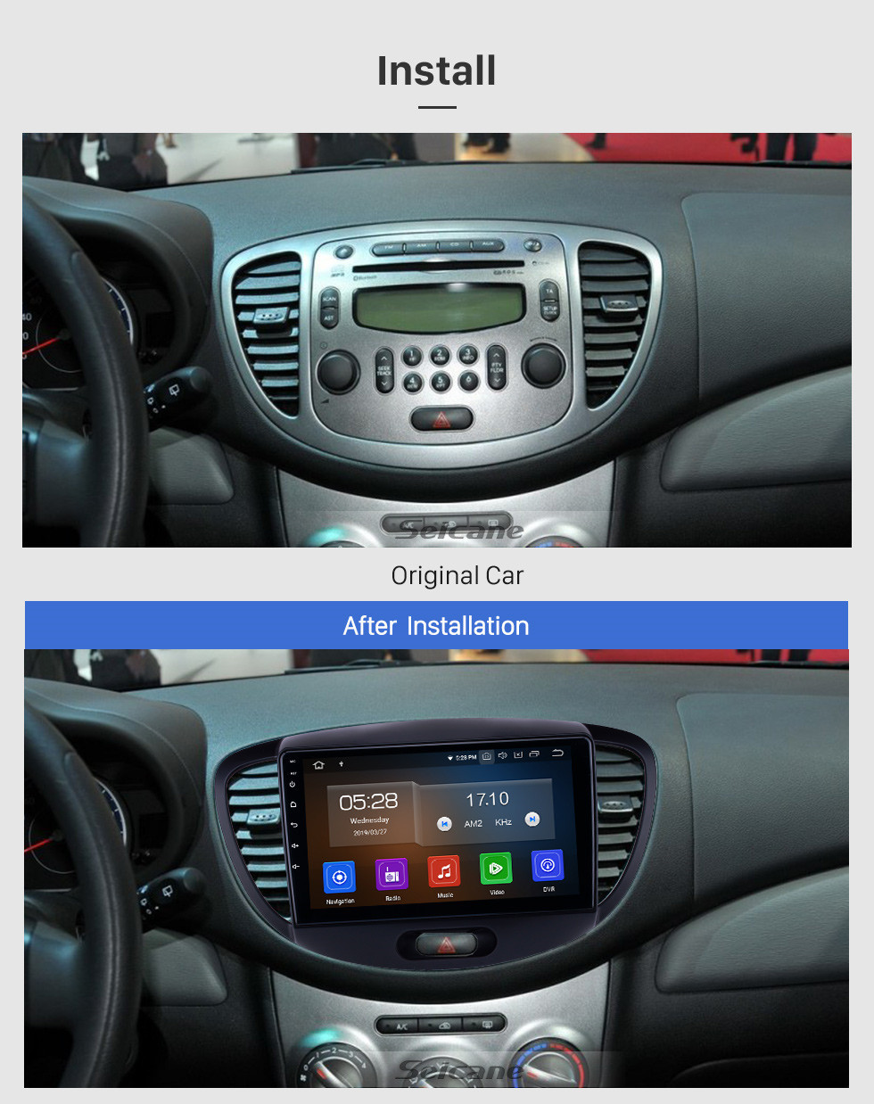 Seicane HD Touchscreen 2010-2013 Old Hyundai i20 Android 10.0 9 inch GPS Navigation Radio Bluetooth USB Carplay WIFI AUX support DAB+ Steering Wheel Control
