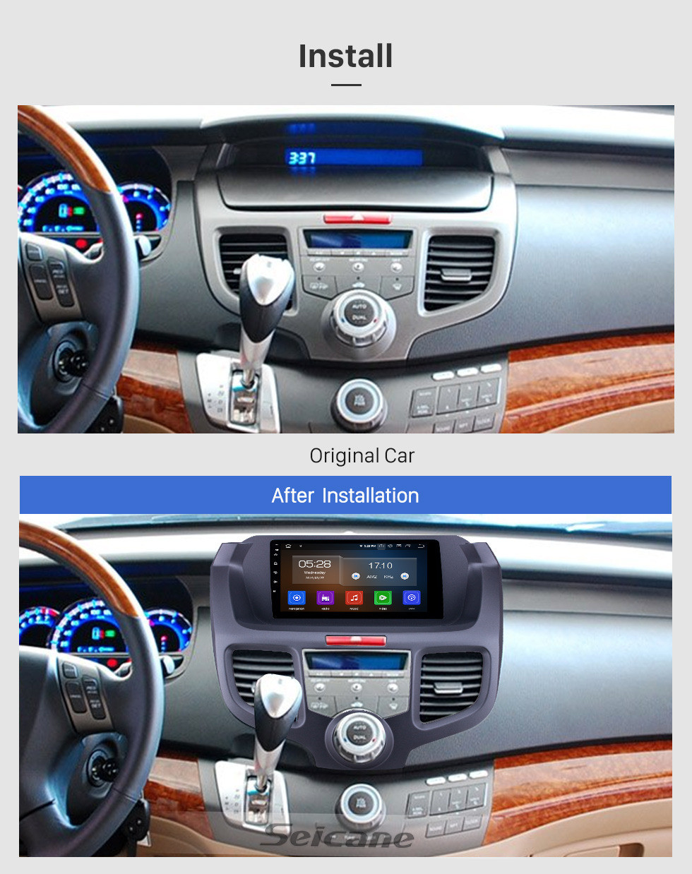 Seicane 2004-2008 Honda Odyssey Android 10.0 9 inch GPS Navigation Radio Bluetooth HD Touchscreen WIFI USB AUX Carplay support TPMS SWC