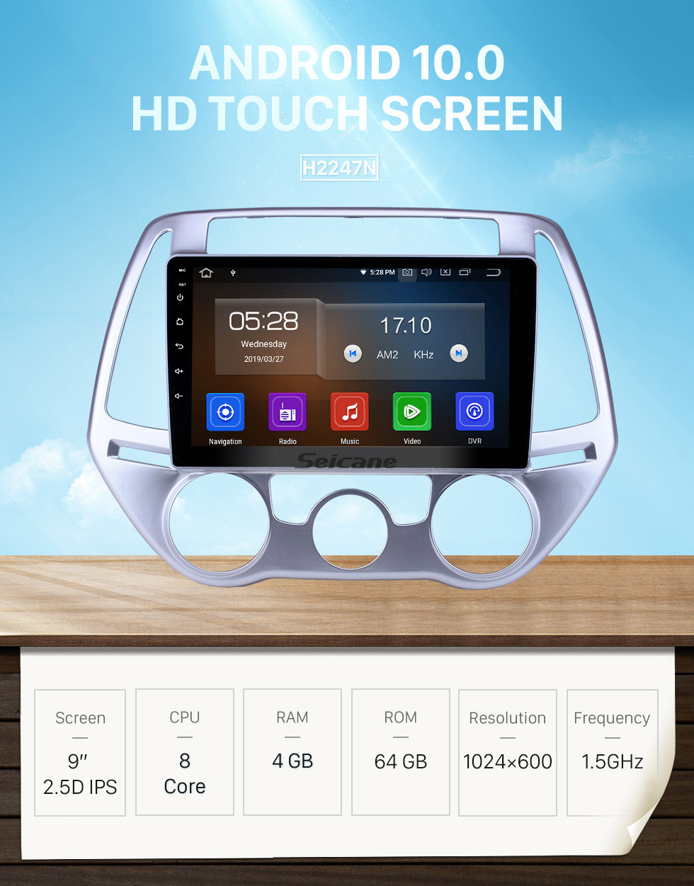 Seicane 9 inch Android 10.0 Radio for 2012-2014 Hyundai I20 Manual A/C Bluetooth Wifi HD Touchscreen GPS Navigation Carplay USB support DVR OBD2 Rearview camera