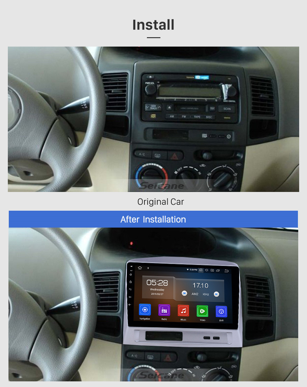 Seicane Android 10.0 9 inch GPS Navigation Radio for 2004 Toyota Vios with HD Touchscreen Carplay Bluetooth WIFI USB AUX support Mirror Link OBD2 SWC