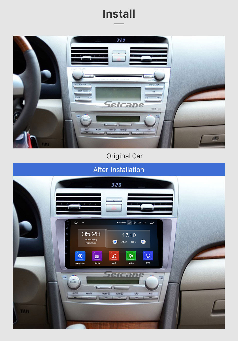 Seicane 9 Inch OEM Android 10.0 Radio Capacitive Touch Screen For 2007-2011 Toyota CAMRY Support 3G WiFi Bluetooth GPS Navigation system TPMS DVR OBD II AUX Headrest Monitor Control Video Rear camera USB SD
