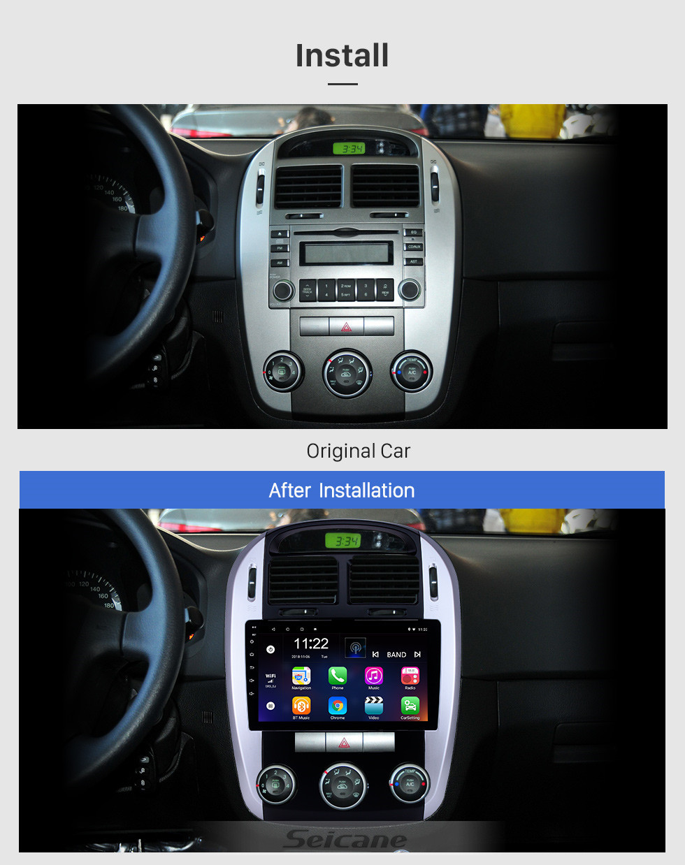 Seicane Android 10.0 9 inch GPS Navigation Radio for 2012-2016 Kia Cerato with HD Touchscreen Carplay Bluetooth WIFI USB AUX support Mirror Link OBD2 SWC