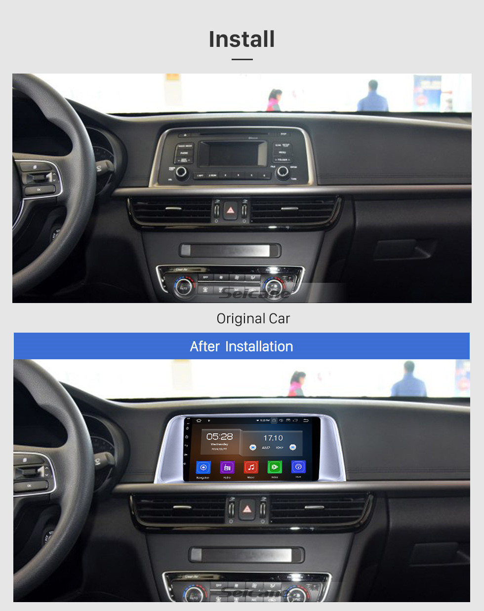 Seicane Android 10.0 9 inch GPS Navigation Radio for 2015 2016 2017 Kia K5 with HD Touchscreen Carplay Bluetooth WIFI USB AUX support Mirror Link OBD2 SWC