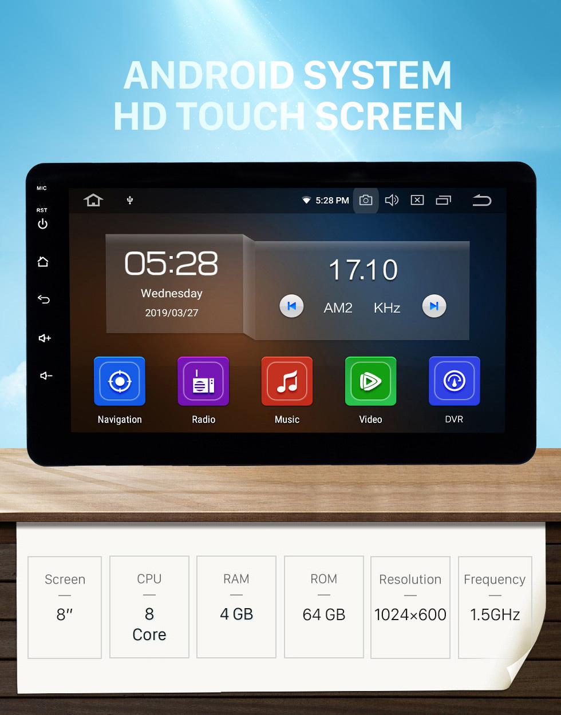 Seicane 8 pouces radio universelle Android 10.0 avec navigation GPS Bluetooth HD écran tactile prise en charge de la musique AUX Carplay 1080p vidéo numérique TV commande au volant