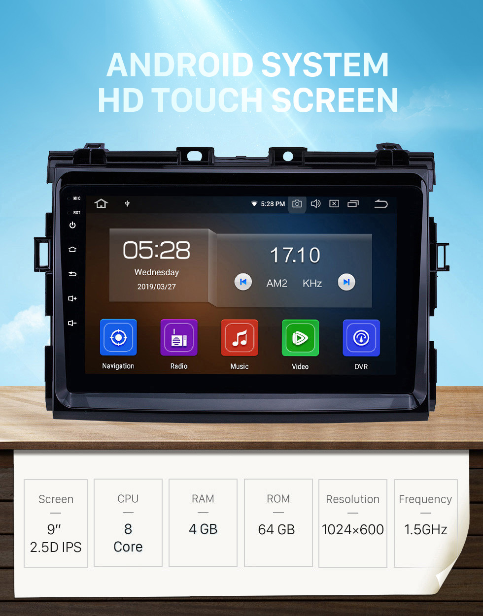 Seicane HD Touchscreen 2006-2012 Toyota Previa Android 10.0 9 inch GPS Navigation Radio Bluetooth USB Carplay WIFI Music AUX support TPMS SWC OBD2 Digital TV