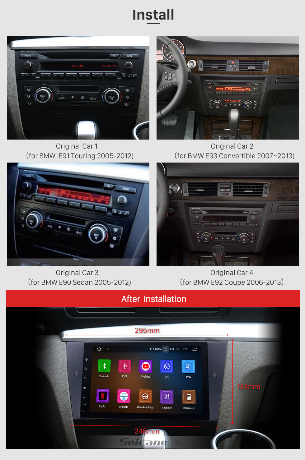 Seicane Android 10.0 HD Touch Screen Radio GPS Navigation System for 2005-2012 BMW 3 Series E90 E91 E92 E93 316i 318i 320i 320si 323i 325i 328i 330i 335i 335is M3 316d 318d 320d 325d 330d 335d with WiFi OBD2 DVR