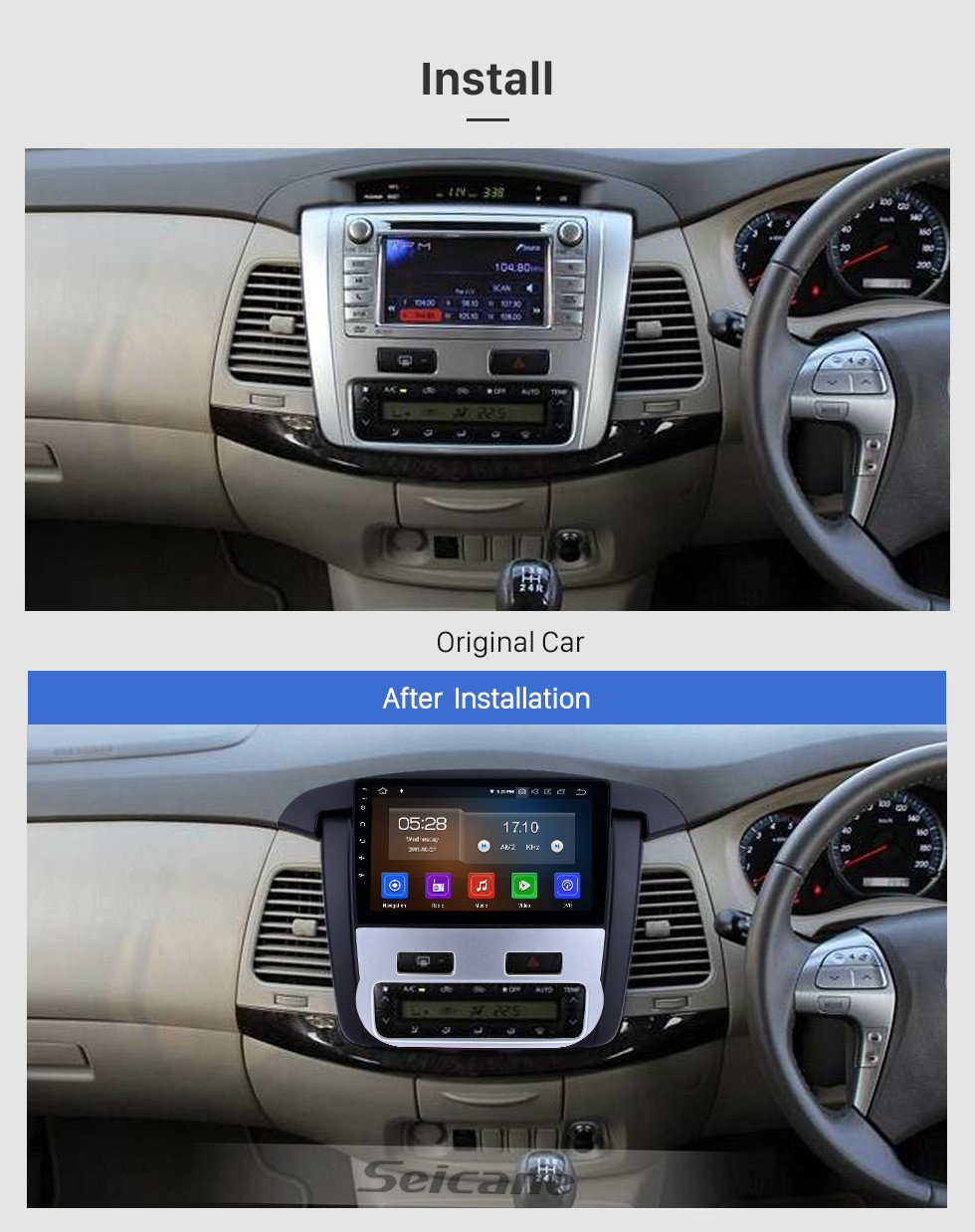 Seicane 2012 2013 2014 Toyota innova Auto A/C 9 inch Android 10.0 Radio HD Touchscreen GPS Navigation Stereo with USB Carplay WIFI Bluetooth support DVR 4G SWC