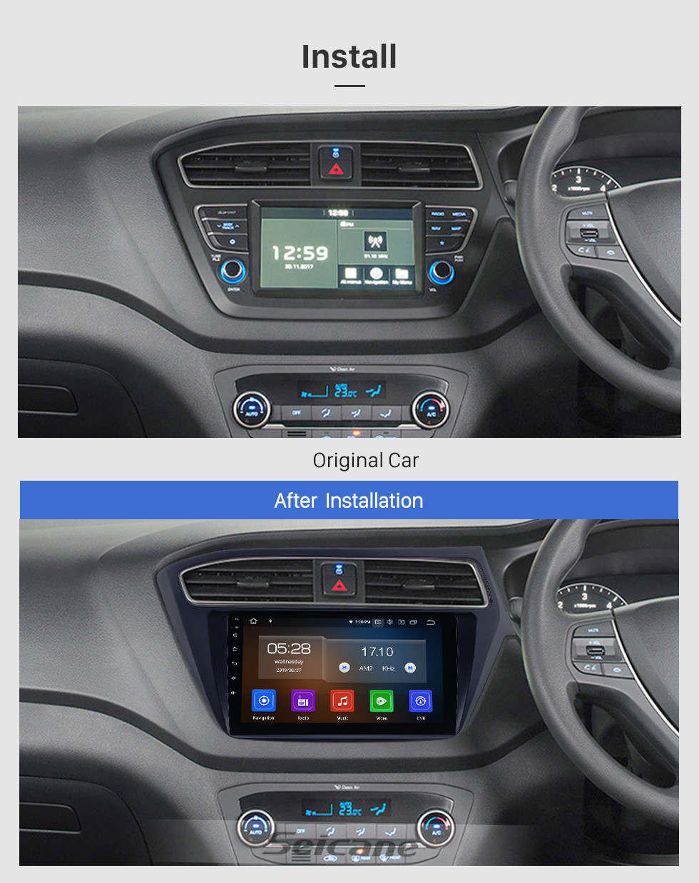 Seicane 9 inch Android 10.0 Radio for 2018-2019 Hyundai i20 RHD with GPS Navigation HD Touchscreen Bluetooth Carplay Audio System support Rearview camera TPMS