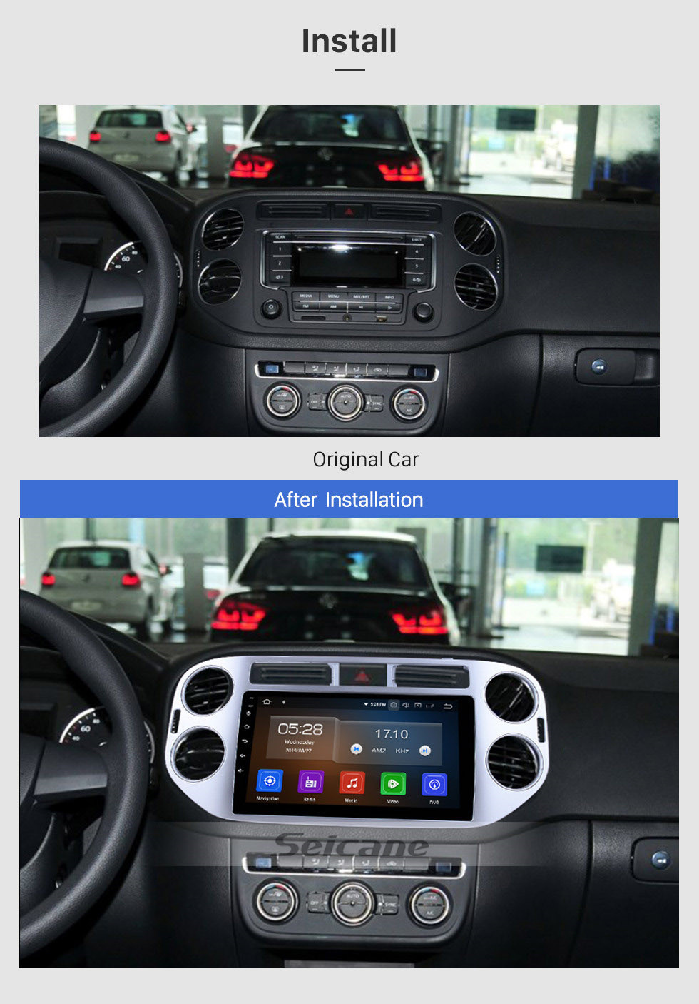 Seicane 9 Inch Android 10.0 Bluetooth Radio For 2010 2011 2012 2013 2014 2015 VW Volkswagen Tiguan WiFi GPS Navigation system Touch Screen Bluetooth TPMS DVR OBD II Rear camera AUX USB Carplay