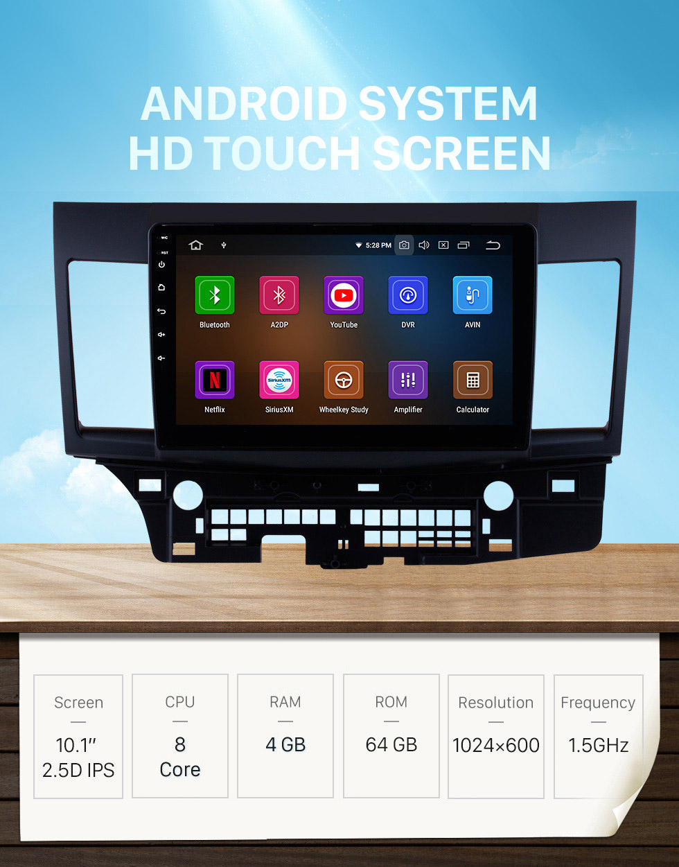 Seicane 2007-2015 Mitsubishi LANCER Android 10.0 Radio DVD player GPS navigation system Bluetooth HD 1024*600 touch screen Mirror link OBD2 DVR Rearview camera TV 1080P Video 3G WIFI Steering Wheel Control USB