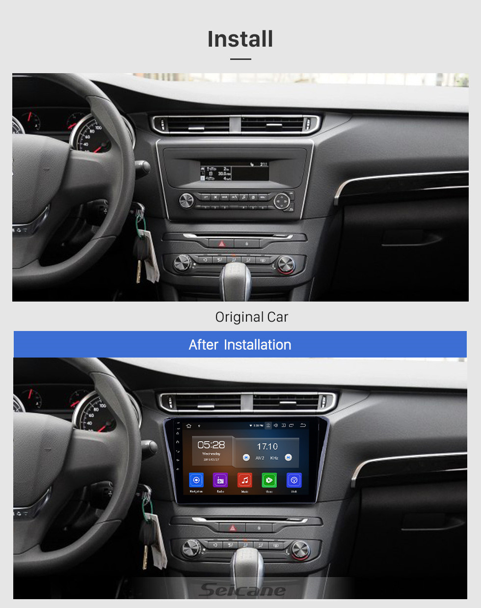 Seicane HD Touchscreen 10.1 inch Android 10.0 GPS Navigation Radio for 2014 Peugeot 408 with Bluetooth wifi USB Carplay support DVR DAB+ Steering Wheel Control