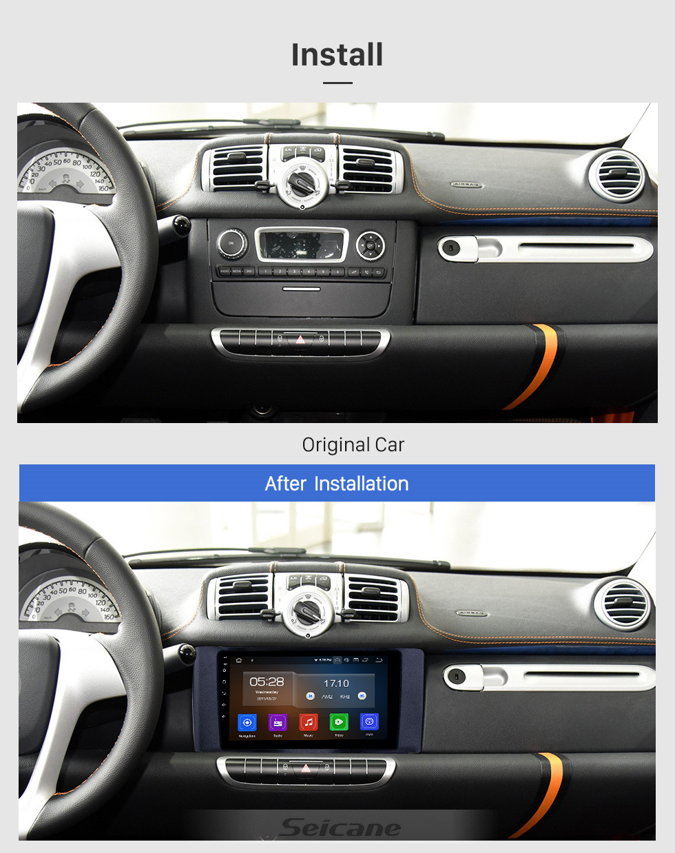 Seicane Android 10.0 9 inch 2011-2015 Mercedes Benz SMART GPS Navigation Stereo with WIFI Bluetooth USB AUX Carplay support TPMS SWC DVD player Steering Wheel Control